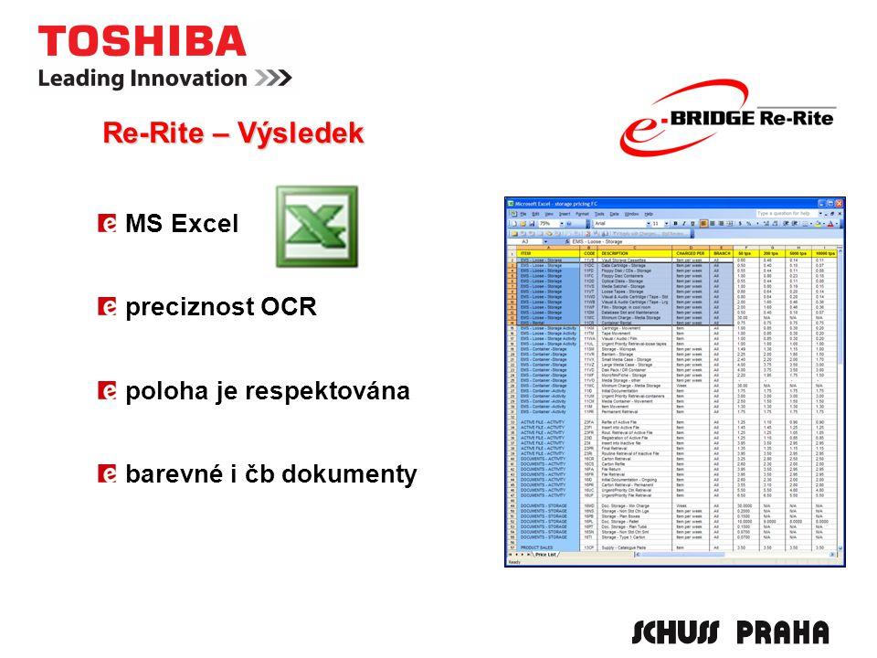 MS Excel preciznost OCR poloha je respektována barevné i čb dokumenty Re-Rite – Výsledek