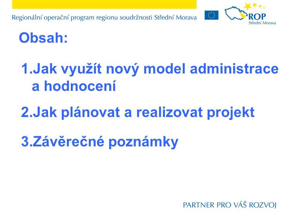 1.Jak využít nový model administrace a hodnocení 2.Jak plánovat a realizovat projekt 3.Závěrečné poznámky Obsah: