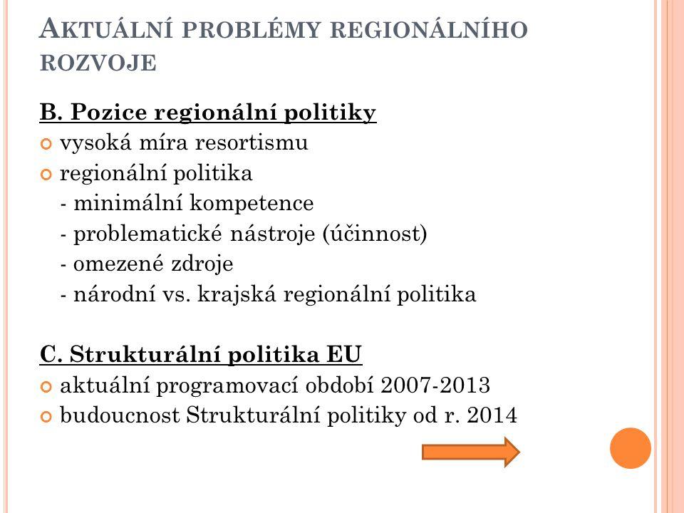 A KTUÁLNÍ PROBLÉMY REGIONÁLNÍHO ROZVOJE B. Pozice regionální politiky vysoká míra resortismu regionální politika - minimální kompetence - problematick