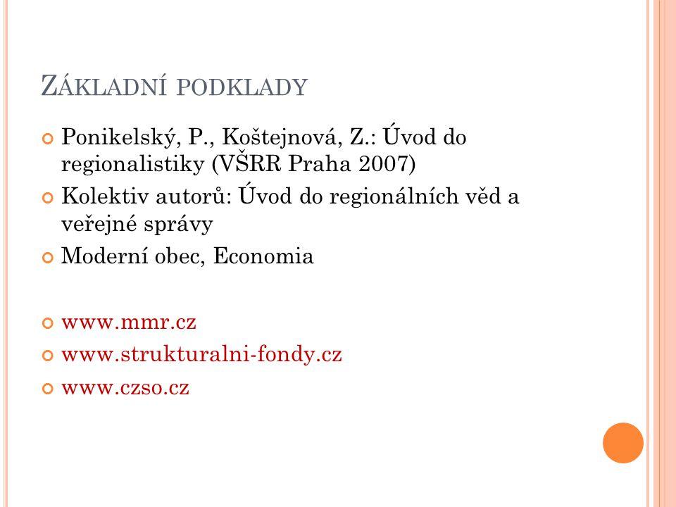 Z ÁKLADNÍ PODKLADY Ponikelský, P., Koštejnová, Z.: Úvod do regionalistiky (VŠRR Praha 2007) Kolektiv autorů: Úvod do regionálních věd a veřejné správy