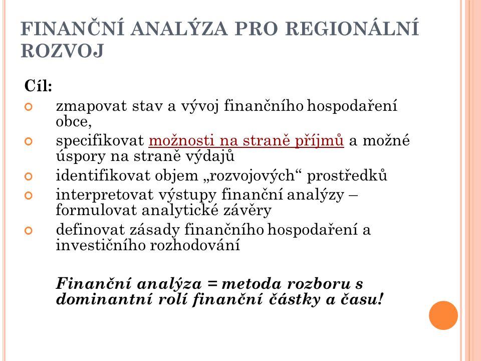 FINANČNÍ ANALÝZA PRO REGIONÁLNÍ ROZVOJ Cíl: zmapovat stav a vývoj finančního hospodaření obce, specifikovat možnosti na straně příjmů a možné úspory n