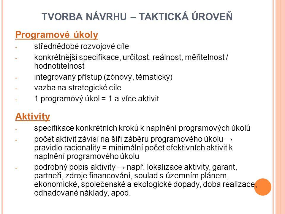 TVORBA NÁVRHU – TAKTICKÁ ÚROVEŇ Programové úkoly - střednědobé rozvojové cíle - konkrétnější specifikace, určitost, reálnost, měřitelnost / hodnotitelnost - integrovaný přístup (zónový, tématický) - vazba na strategické cíle - 1 programový úkol = 1 a více aktivit Aktivity - specifikace konkrétních kroků k naplnění programových úkolů - počet aktivit závisí na šíři záběru programového úkolu → pravidlo racionality = minimální počet efektivních aktivit k naplnění programového úkolu - podrobný popis aktivity → např.