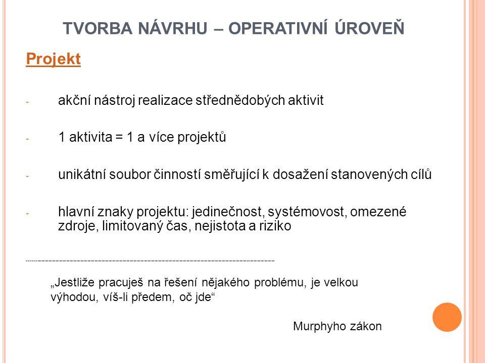 TVORBA NÁVRHU – OPERATIVNÍ ÚROVEŇ Projekt - akční nástroj realizace střednědobých aktivit - 1 aktivita = 1 a více projektů - unikátní soubor činností