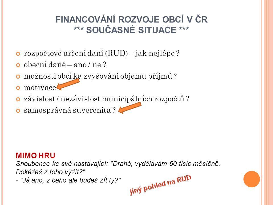 FINANCOVÁNÍ ROZVOJE OBCÍ V ČR *** SOUČASNÉ SITUACE *** rozpočtové určení daní (RUD) – jak nejlépe .