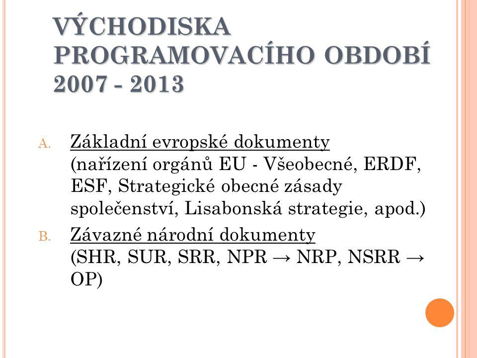VÝCHODISKA PROGRAMOVACÍHO OBDOBÍ 2007 - 2013 A. Základní evropské dokumenty (nařízení orgánů EU - Všeobecné, ERDF, ESF, Strategické obecné zásady spol