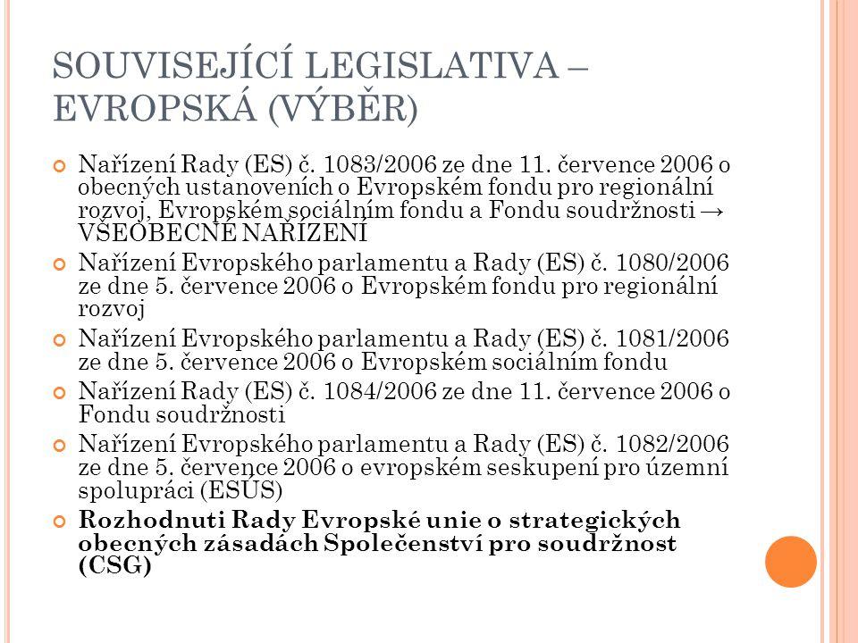 SOUVISEJÍCÍ LEGISLATIVA – EVROPSKÁ (VÝBĚR) Nařízení Rady (ES) č. 1083/2006 ze dne 11. července 2006 o obecných ustanoveních o Evropském fondu pro regi