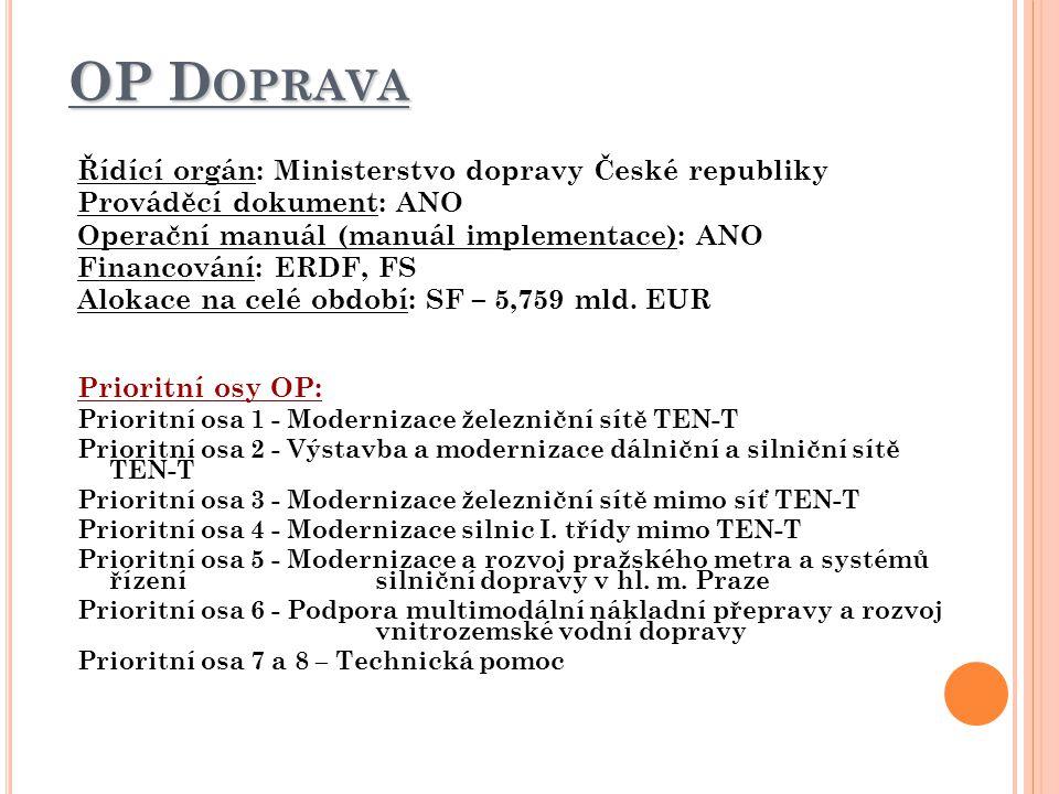 OP D OPRAVA Řídící orgán: Ministerstvo dopravy České republiky Prováděcí dokument: ANO Operační manuál (manuál implementace): ANO Financování: ERDF, FS Alokace na celé období: SF – 5,759 mld.