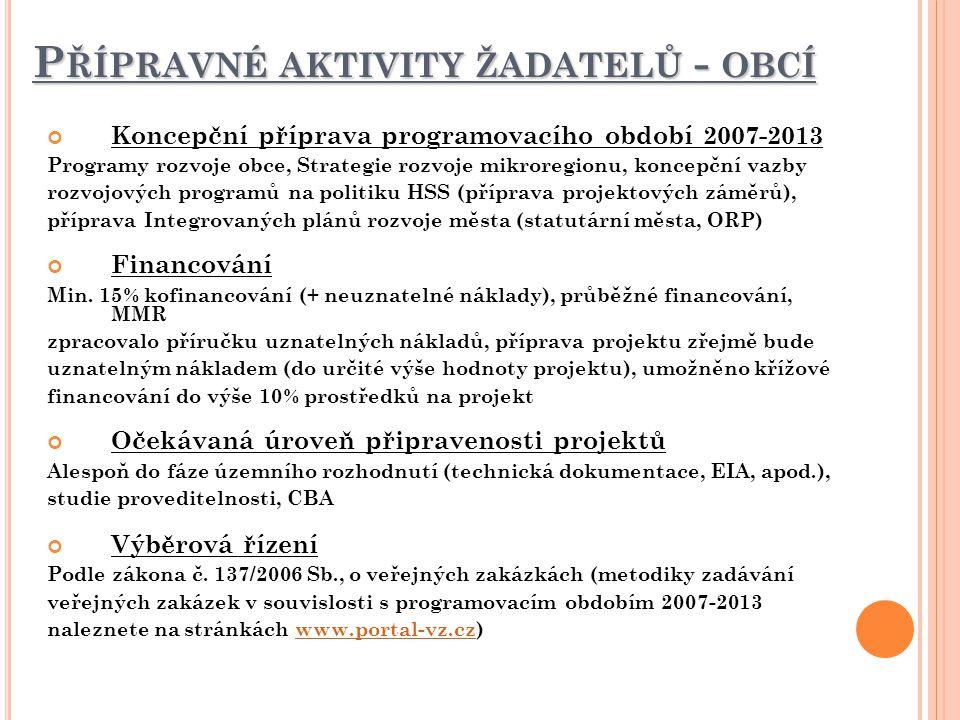 P ŘÍPRAVNÉ AKTIVITY ŽADATELŮ - OBCÍ Koncepční příprava programovacího období 2007-2013 Programy rozvoje obce, Strategie rozvoje mikroregionu, koncepčn