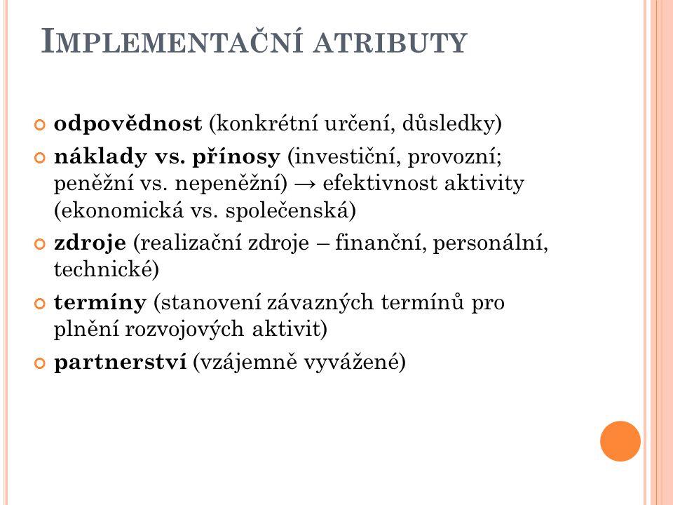 I MPLEMENTAČNÍ ATRIBUTY odpovědnost (konkrétní určení, důsledky) náklady vs. přínosy (investiční, provozní; peněžní vs. nepeněžní) → efektivnost aktiv