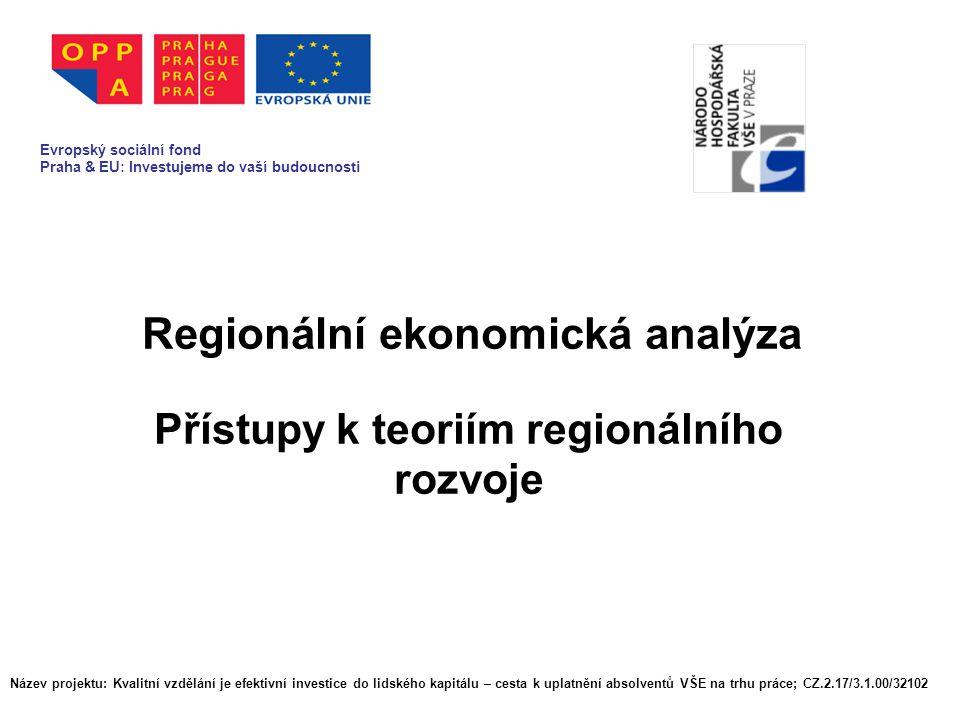 Prostorová hlediska v ekonomickém myšlení v historických obdobích (Ricardo, Walras atd.) Dílčí teorie vztahující se ke konkrétním problémům, které řeší RE Význam lokalizační analýzy pro teorii RE Vliv prací Waltera Christallera a Augusta LÖsche na vývoj regionálně ekonomického myšlení Název projektu: Kvalitní vzdělání je efektivní investice do lidského kapitálu – cesta k uplatnění absolventů VŠE na trhu práce; CZ.2.17/3.1.00/32102
