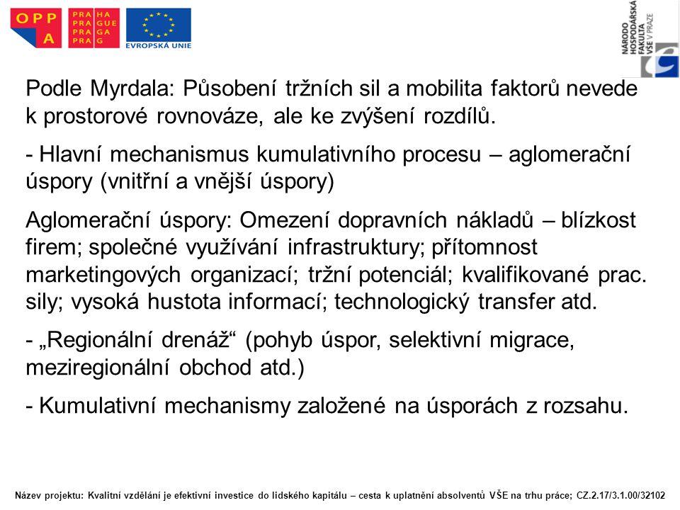 Podle Myrdala: Působení tržních sil a mobilita faktorů nevede k prostorové rovnováze, ale ke zvýšení rozdílů. - Hlavní mechanismus kumulativního proce