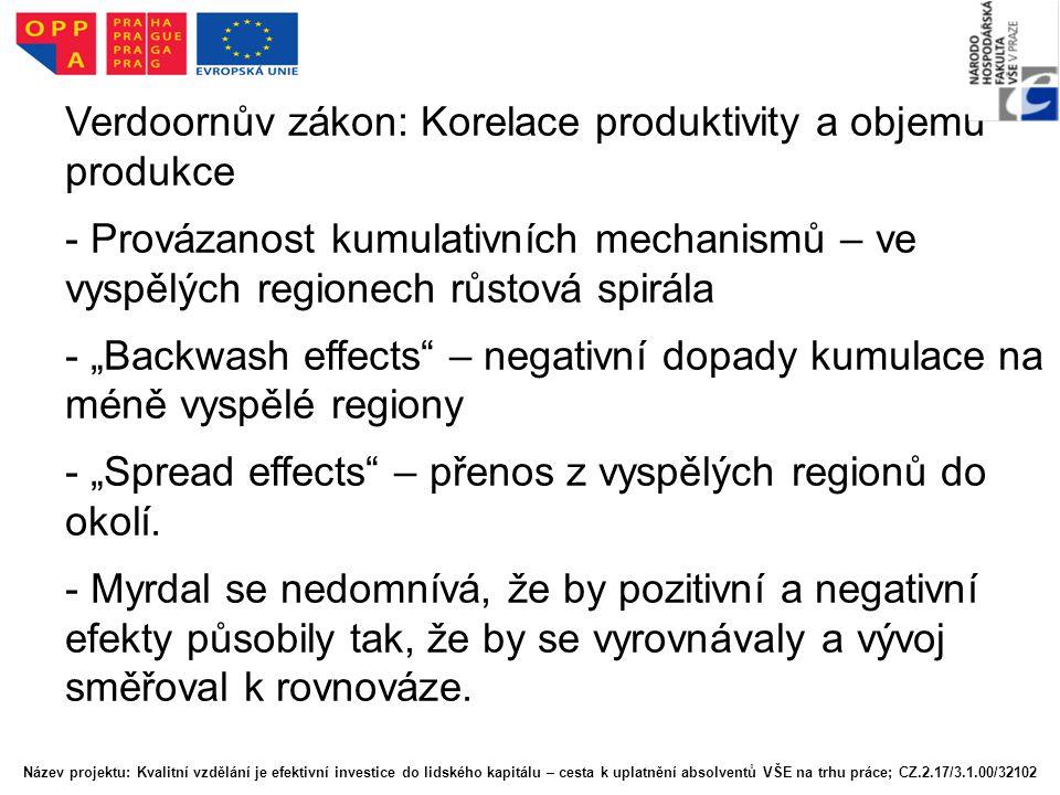 """Verdoornův zákon: Korelace produktivity a objemu produkce - Provázanost kumulativních mechanismů – ve vyspělých regionech růstová spirála - """"Backwash"""