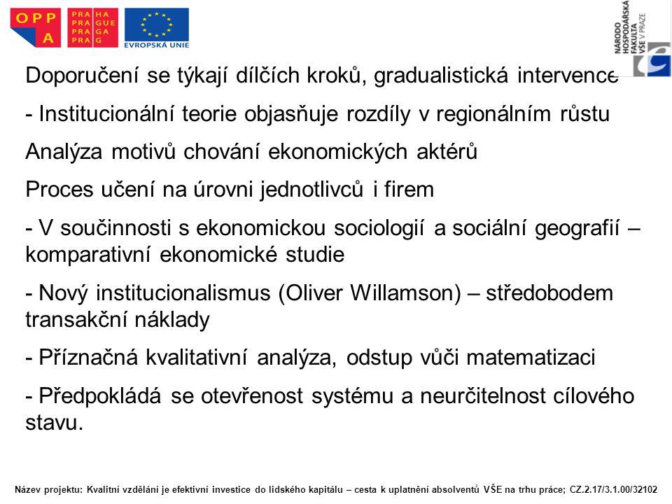 Doporučení se týkají dílčích kroků, gradualistická intervence - Institucionální teorie objasňuje rozdíly v regionálním růstu Analýza motivů chování ek