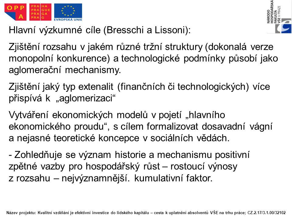 Hlavní výzkumné cíle (Bresschi a Lissoni): Zjištění rozsahu v jakém různé tržní struktury (dokonalá verze monopolní konkurence) a technologické podmín