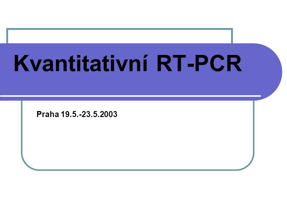 Kvantitativní RT-PCR Náplň: různé metody kvantifikace mRNA - komparativní RT-PCR, kompetitivní RT- PCR a real-time PCR Kvantifikace transkriptů cyklinu D1, BCR- ABL a beta-2-mikroglobulinu - prakticky izolace RNA a reverzní transkripce - prakticky
