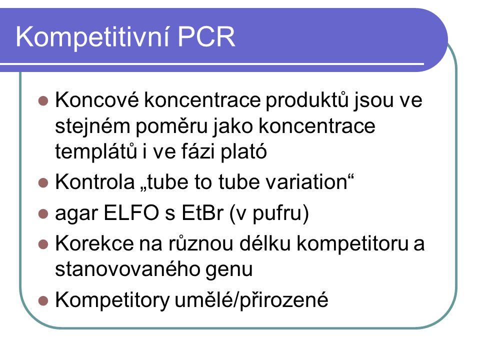 """Kompetitivní PCR Koncové koncentrace produktů jsou ve stejném poměru jako koncentrace templátů i ve fázi plató Kontrola """"tube to tube variation"""" agar"""