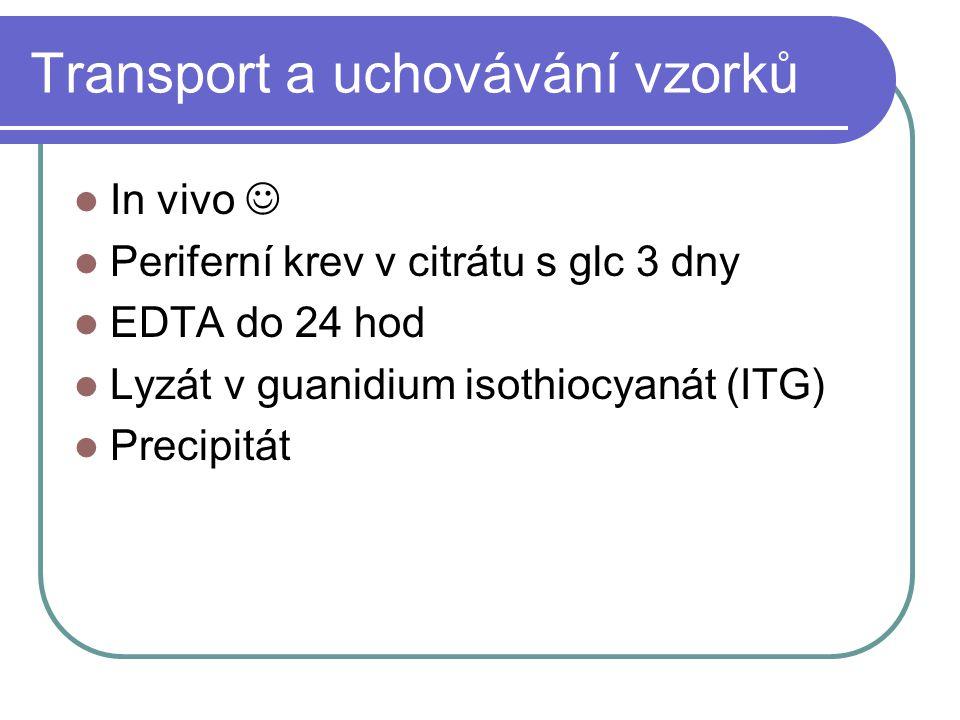 Transport a uchovávání vzorků In vivo Periferní krev v citrátu s glc 3 dny EDTA do 24 hod Lyzát v guanidium isothiocyanát (ITG) Precipitát
