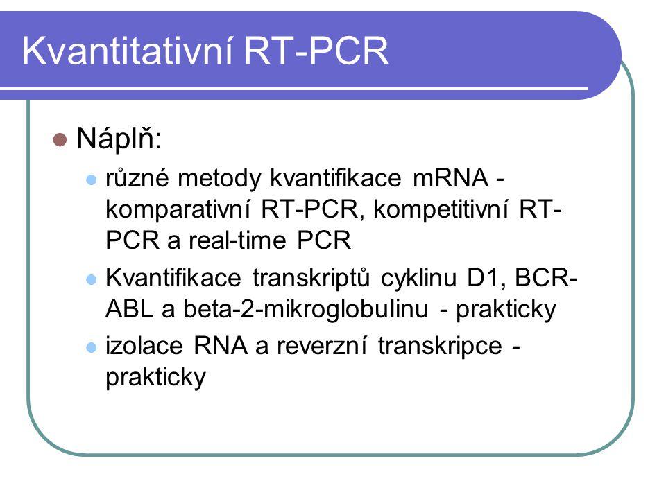 Kvantitativní RT-PCR Náplň: různé metody kvantifikace mRNA - komparativní RT-PCR, kompetitivní RT- PCR a real-time PCR Kvantifikace transkriptů cyklin