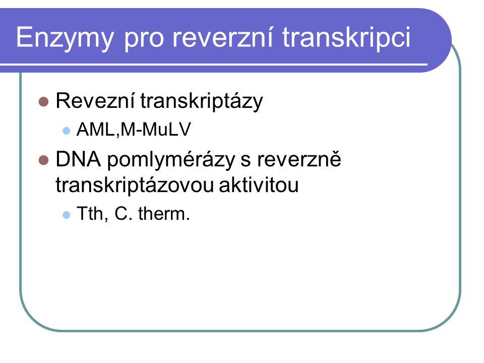 Enzymy pro reverzní transkripci Revezní transkriptázy AML,M-MuLV DNA pomlymérázy s reverzně transkriptázovou aktivitou Tth, C. therm.