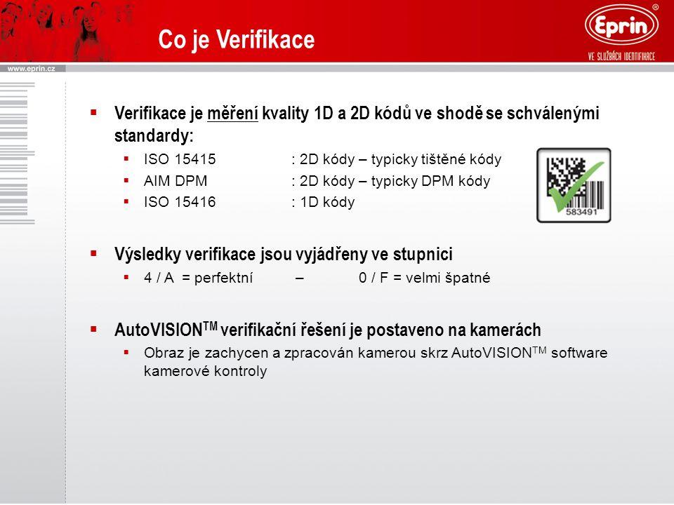 Co je Verifikace  Verifikace je měření kvality 1D a 2D kódů ve shodě se schválenými standardy:  ISO 15415: 2D kódy – typicky tištěné kódy  AIM DPM: 2D kódy – typicky DPM kódy  ISO 15416: 1D kódy  Výsledky verifikace jsou vyjádřeny ve stupnici  4 / A = perfektní –0 / F = velmi špatné  AutoVISION TM verifikační řešení je postaveno na kamerách  Obraz je zachycen a zpracován kamerou skrz AutoVISION TM software kamerové kontroly