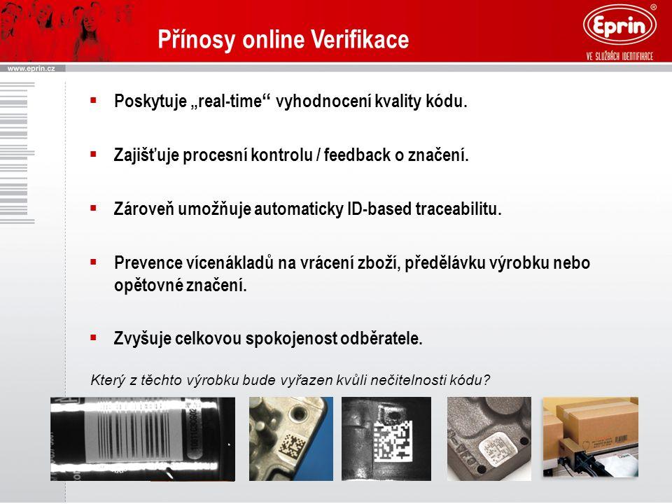 """Přínosy online Verifikace  Poskytuje """"real-time"""" vyhodnocení kvality kódu.  Zajišťuje procesní kontrolu / feedback o značení.  Zároveň umožňuje aut"""