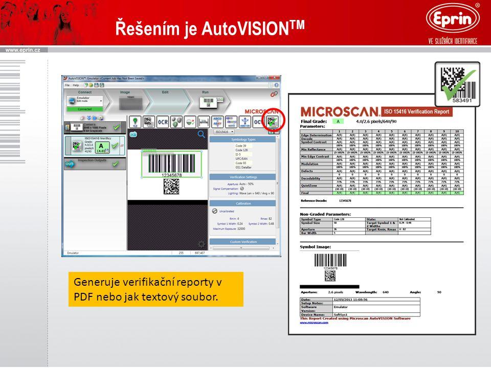 Řešením je AutoVISION TM Generuje verifikační reporty v PDF nebo jak textový soubor.