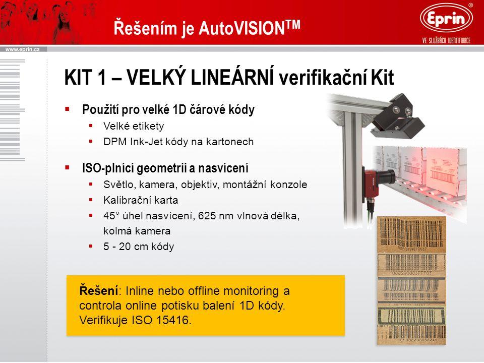 Řešením je AutoVISION TM KIT 1 – VELKÝ LINEÁRNÍ verifikační Kit  Použití pro velké 1D čárové kódy  Velké etikety  DPM Ink-Jet kódy na kartonech  ISO-plnící geometrii a nasvícení  Světlo, kamera, objektiv, montážní konzole  Kalibrační karta  45° úhel nasvícení, 625 nm vlnová délka, kolmá kamera  5 - 20 cm kódy Řešení: Inline nebo offline monitoring a controla online potisku balení 1D kódy.