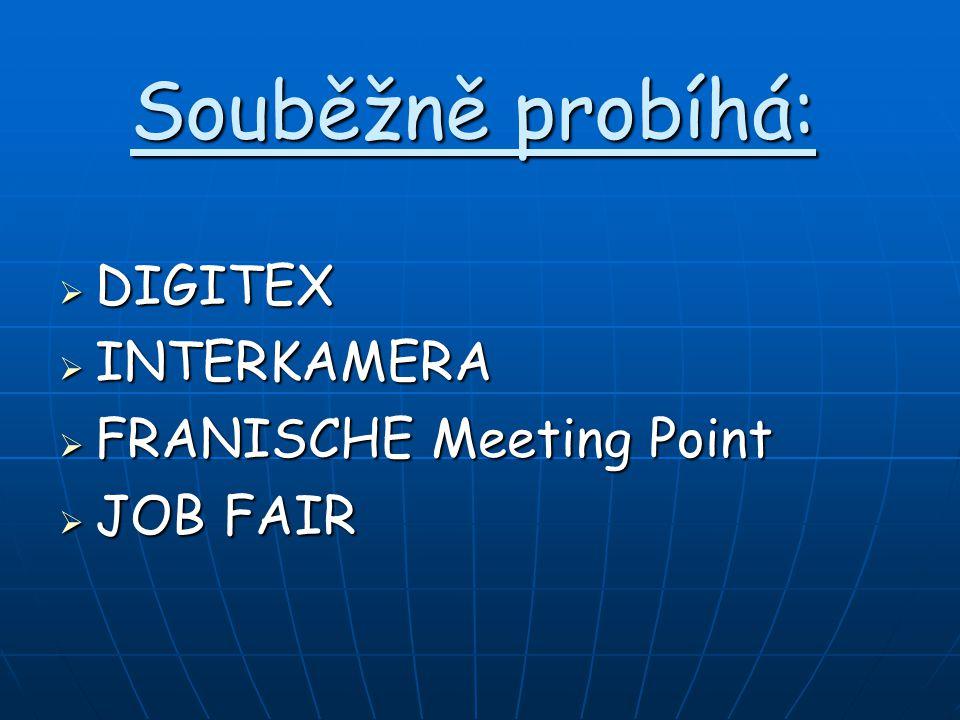Souběžně probíhá:  DIGITEX  INTERKAMERA  FRANISCHE Meeting Point  JOB FAIR