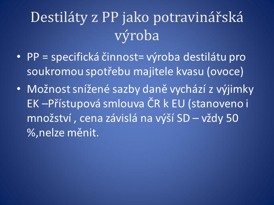 Destiláty z PP jako potravinářská výroba PP = specifická činnost= výroba destilátu pro soukromou spotřebu majitele kvasu (ovoce) Možnost snížené sazby daně vychází z výjimky EK –Přístupová smlouva ČR k EU (stanoveno i množství, cena závislá na výší SD – vždy 50 %,nelze měnit.