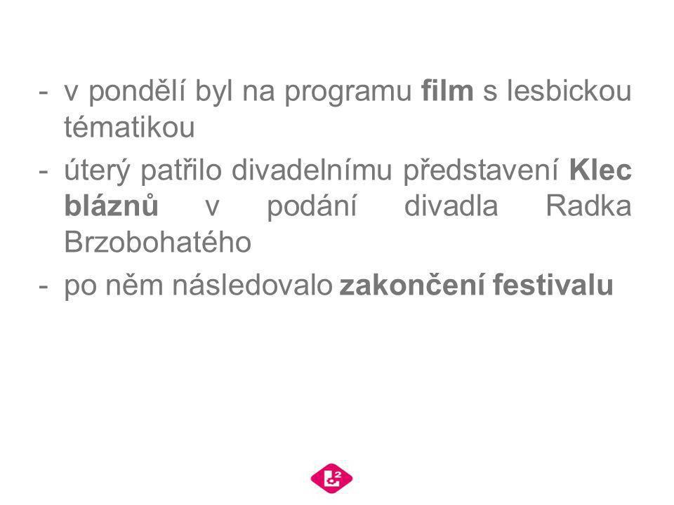 -v pondělí byl na programu film s lesbickou tématikou -úterý patřilo divadelnímu představení Klec bláznů v podání divadla Radka Brzobohatého -po něm n