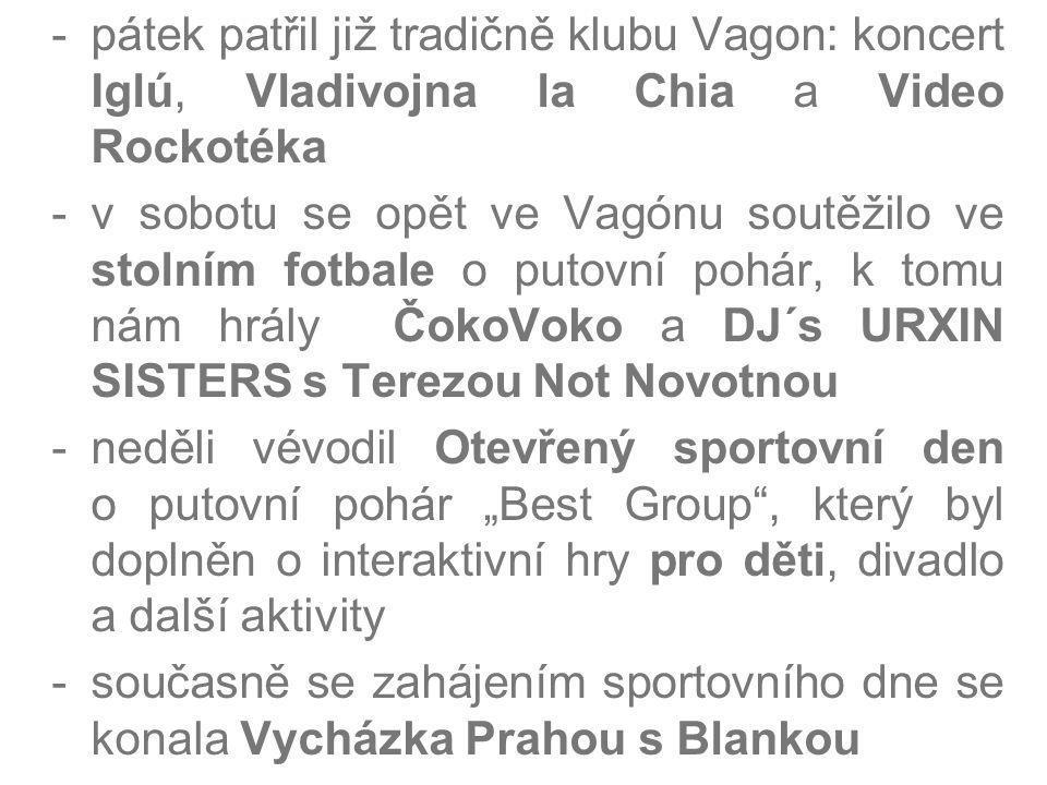 -pátek patřil již tradičně klubu Vagon: koncert Iglú, Vladivojna la Chia a Video Rockotéka -v sobotu se opět ve Vagónu soutěžilo ve stolním fotbale o