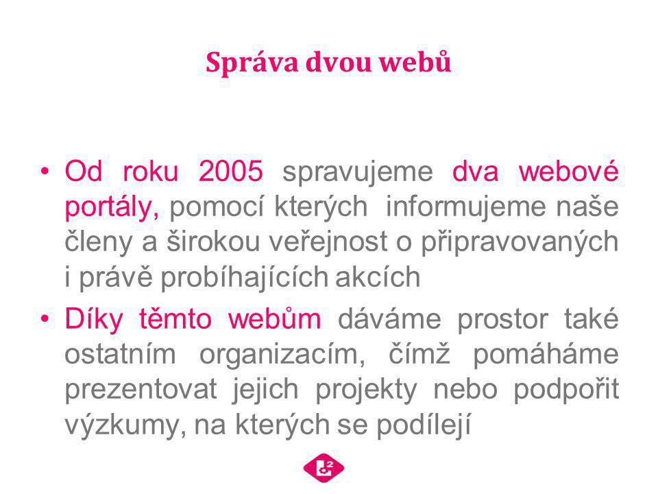 Správa dvou webů Od roku 2005 spravujeme dva webové portály, pomocí kterých informujeme naše členy a širokou veřejnost o připravovaných i právě probíh