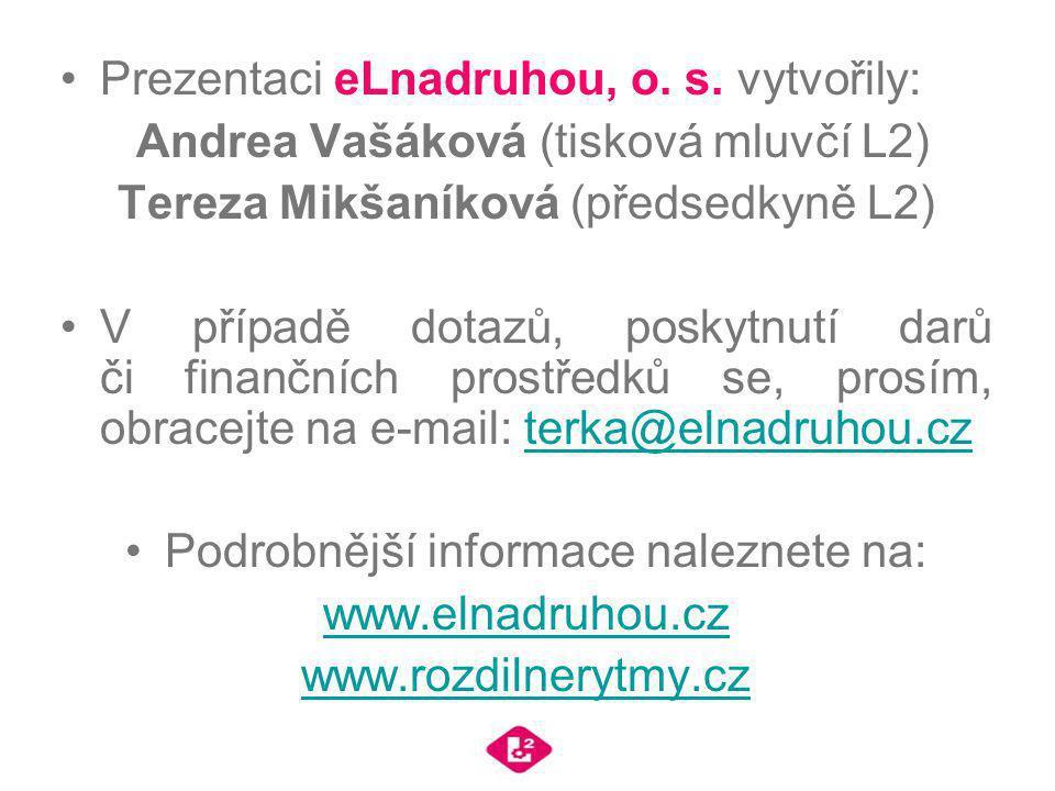 Prezentaci eLnadruhou, o. s. vytvořily: Andrea Vašáková (tisková mluvčí L2) Tereza Mikšaníková (předsedkyně L2) V případě dotazů, poskytnutí darů či f