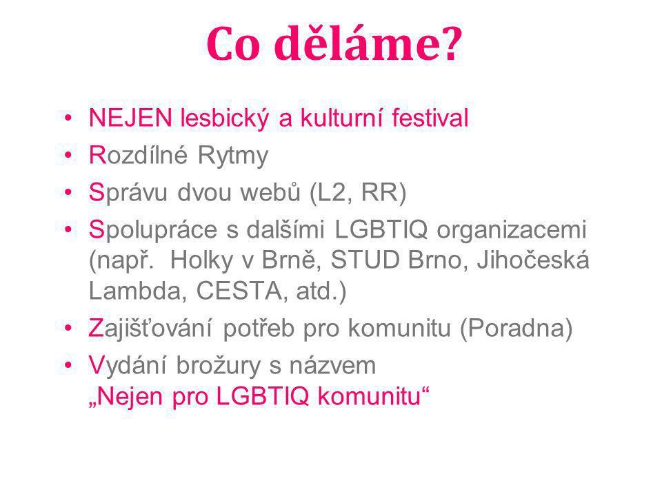 Co děláme? NEJEN lesbický a kulturní festival Rozdílné Rytmy Správu dvou webů (L2, RR) Spolupráce s dalšími LGBTIQ organizacemi (např. Holky v Brně, S