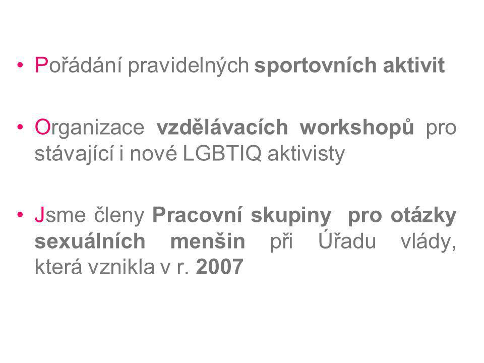 Pořádání pravidelných sportovních aktivit Organizace vzdělávacích workshopů pro stávající i nové LGBTIQ aktivisty Jsme členy Pracovní skupiny pro otáz