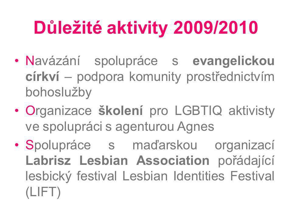 Důležité aktivity 2009/2010 Navázání spolupráce s evangelickou církví – podpora komunity prostřednictvím bohoslužby Organizace školení pro LGBTIQ akti
