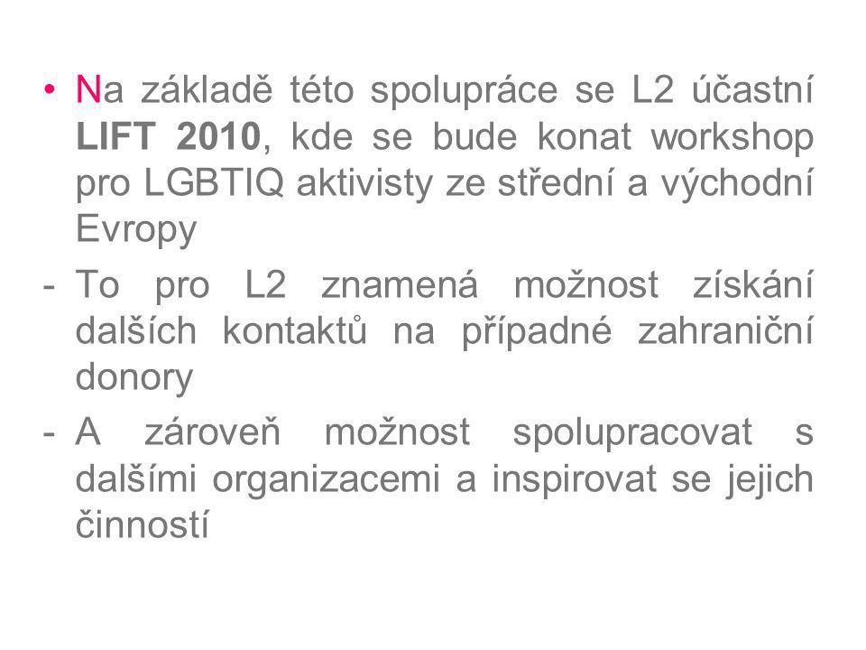 Na základě této spolupráce se L2 účastní LIFT 2010, kde se bude konat workshop pro LGBTIQ aktivisty ze střední a východní Evropy -To pro L2 znamená mo