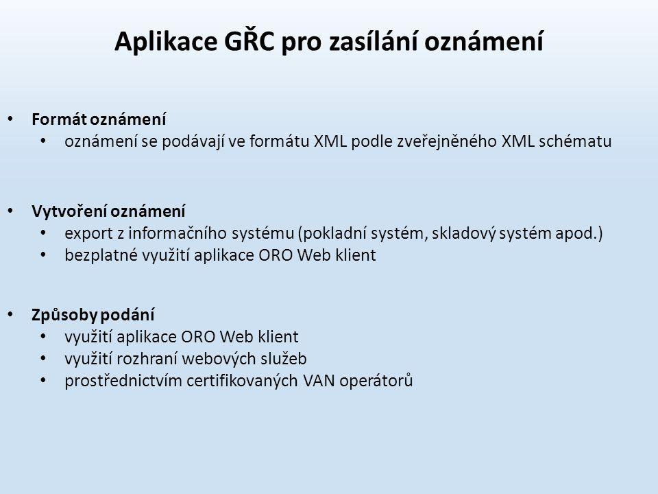 Aplikace GŘC pro zasílání oznámení Formát oznámení oznámení se podávají ve formátu XML podle zveřejněného XML schématu Vytvoření oznámení export z inf