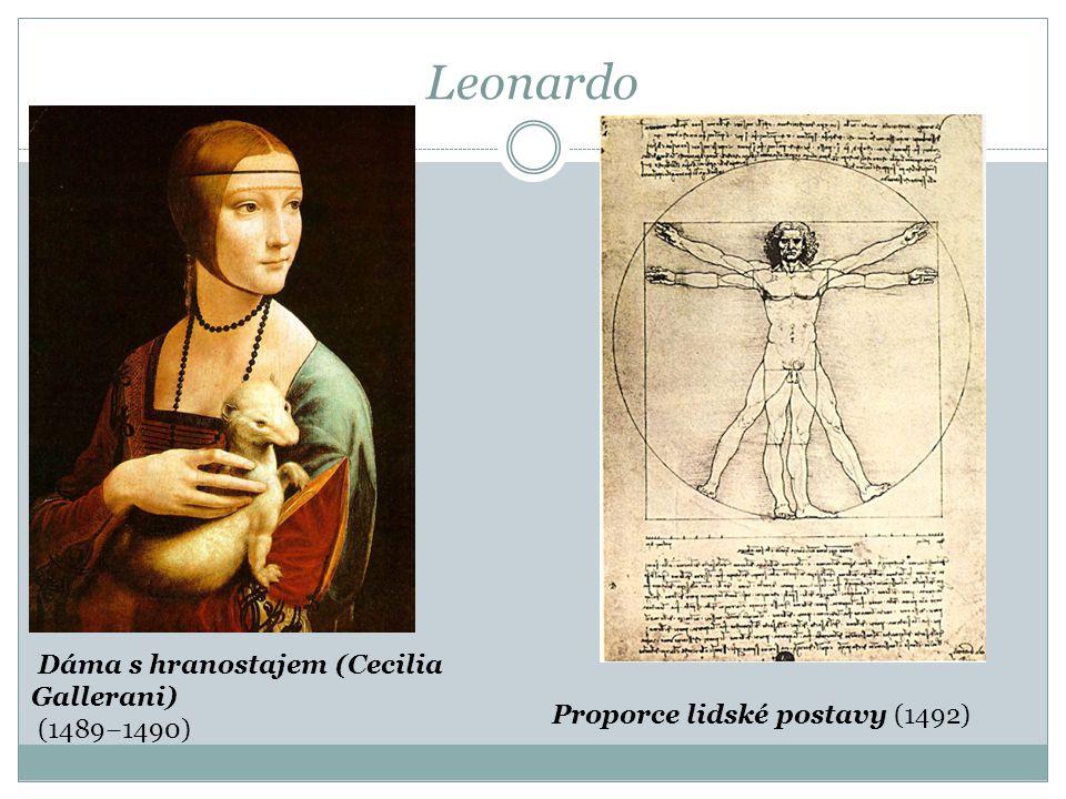 Leonardo Dáma s hranostajem (Cecilia Gallerani) (1489−1490) Proporce lidské postavy (1492)