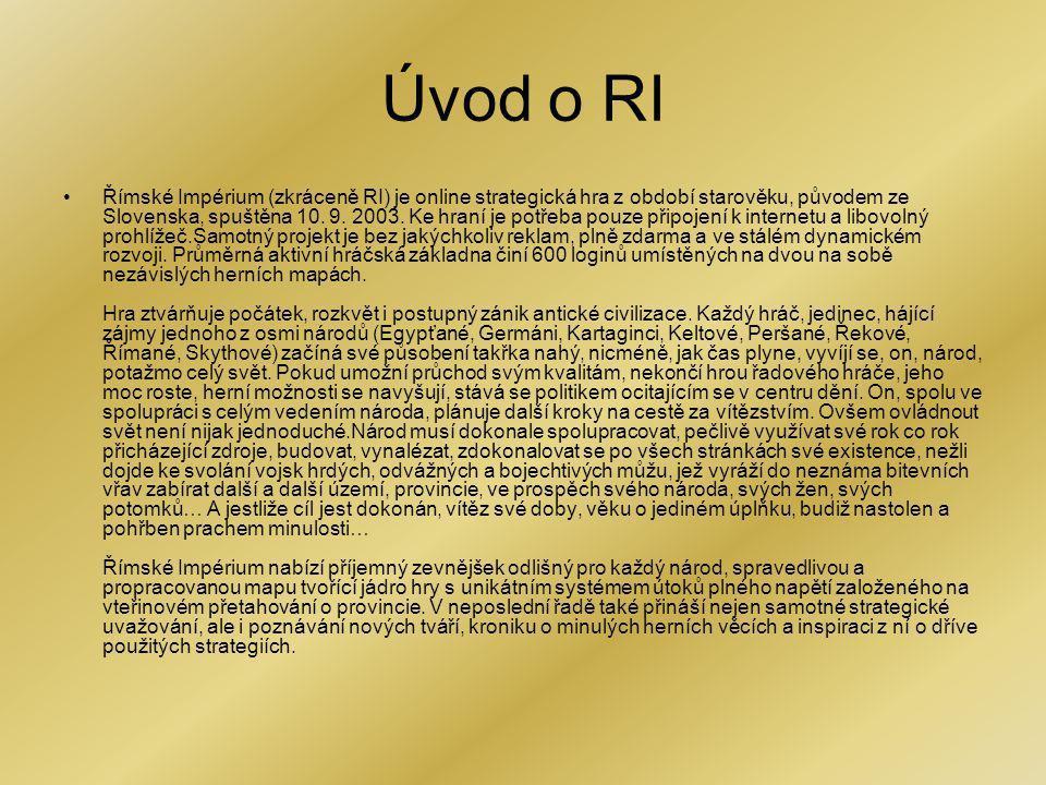 Úvod o RI Římské Impérium (zkráceně RI) je online strategická hra z období starověku, původem ze Slovenska, spuštěna 10. 9. 2003. Ke hraní je potřeba