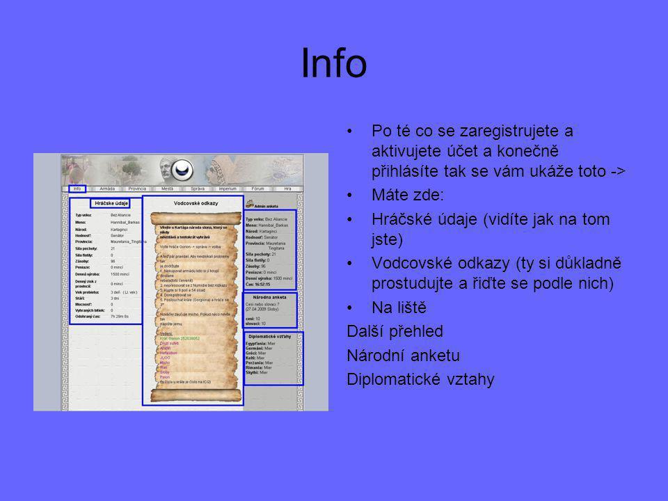 Info Po té co se zaregistrujete a aktivujete účet a konečně přihlásíte tak se vám ukáže toto -> Máte zde: Hráčské údaje (vidíte jak na tom jste) Vodco