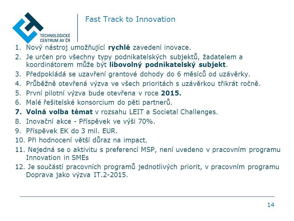 Fast Track to Innovation 1.Nový nástroj umožňující rychlé zavedení inovace.