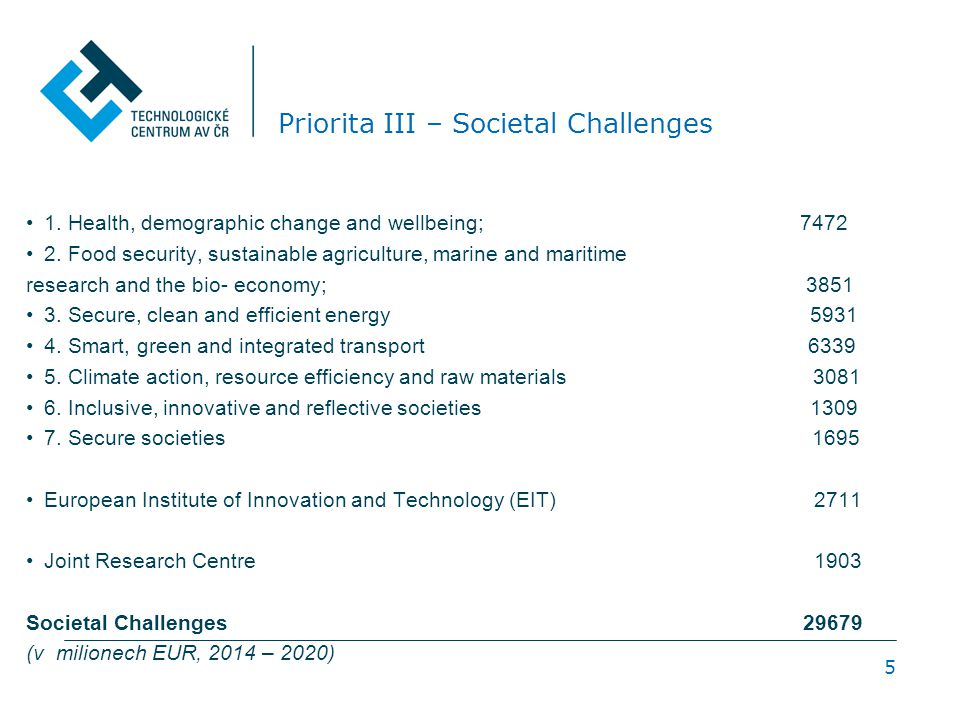 5 Priorita III – Societal Challenges 1. Health, demographic change and wellbeing; 7472 2. Food security, sustainable agriculture, marine and maritime