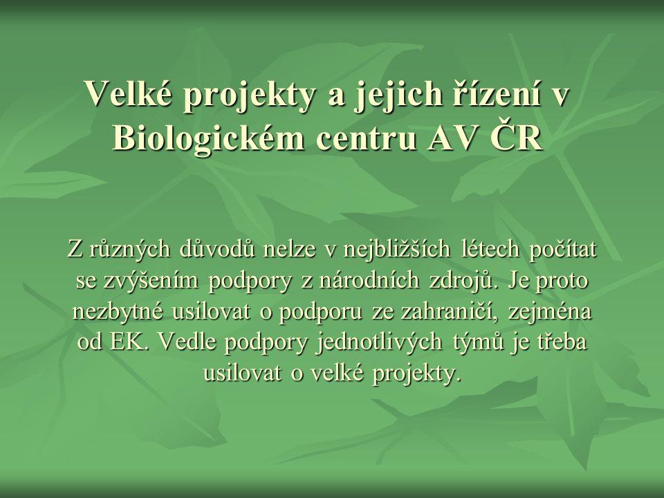 Velké projekty a jejich řízení v Biologickém centru AV ČR Z různých důvodů nelze v nejbližších létech počítat se zvýšením podpory z národních zdrojů.
