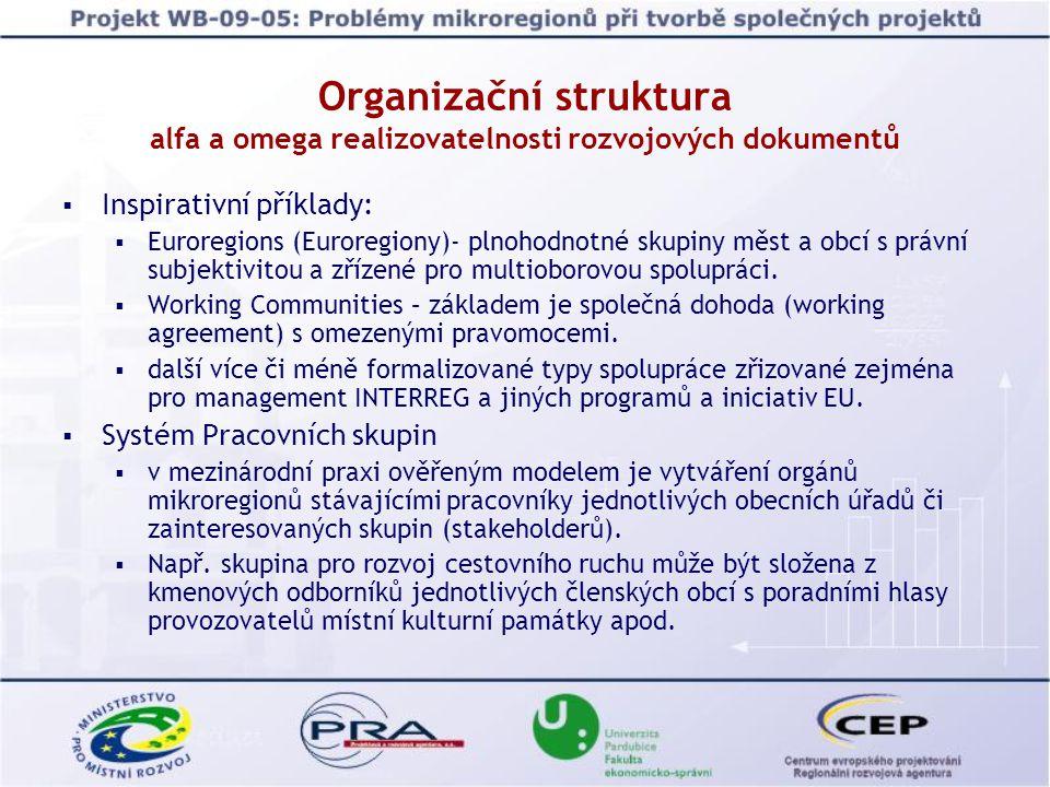  Inspirativní příklady:  Euroregions (Euroregiony)- plnohodnotné skupiny měst a obcí s právní subjektivitou a zřízené pro multioborovou spolupráci.