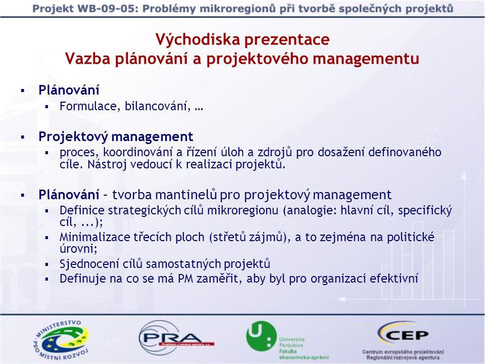 Východiska prezentace Vazba plánování a projektového managementu  Plánování  Formulace, bilancování, …  Projektový management  proces, koordinování a řízení úloh a zdrojů pro dosažení definovaného cíle.