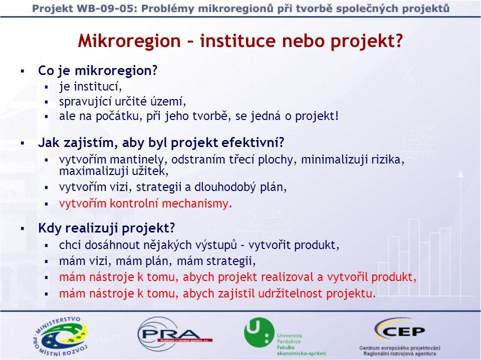 Závěry Východiska: Mikroregion by měl být vnímán minimálně obyvateli jeho obcí.
