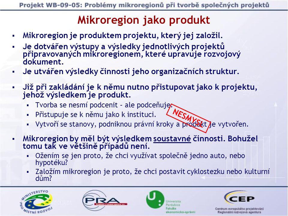 Mikroregion jako produkt Akční plány mikroregionů jsou tvořeny většinou investičních projektů (cyklostezka, plynofikace, kulturní dům, apod.).