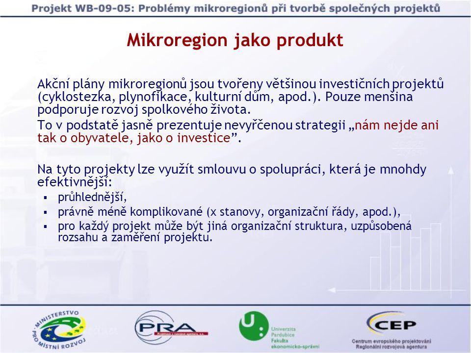 Mikroregion jako produkt  Co je tedy produktem, co je mikroregion.