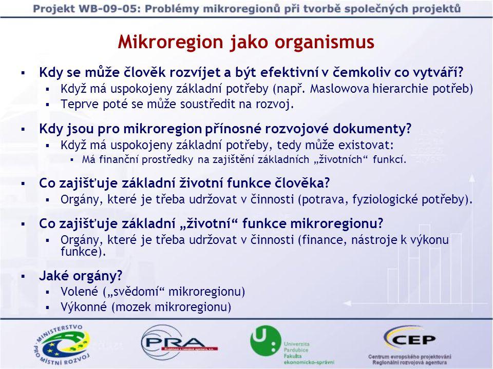 Mikroregion jako organismus  Kdy se může člověk rozvíjet a být efektivní v čemkoliv co vytváří.